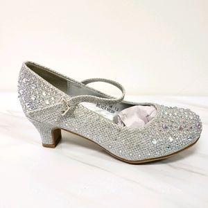 Silver Rhinestone Cinderella Kid's Heel
